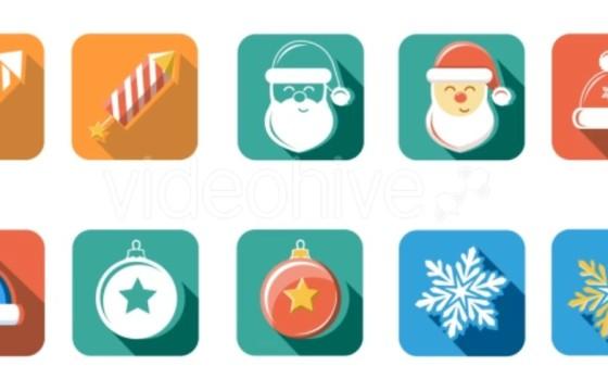 AE模板-扁平化长投影平面圣诞新年图标动画 Flat Style Animated Christmas