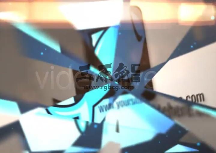 AE模板 放射性破碎LOGO汇聚动画片头 Flipping Logo Ae 模板-第1张