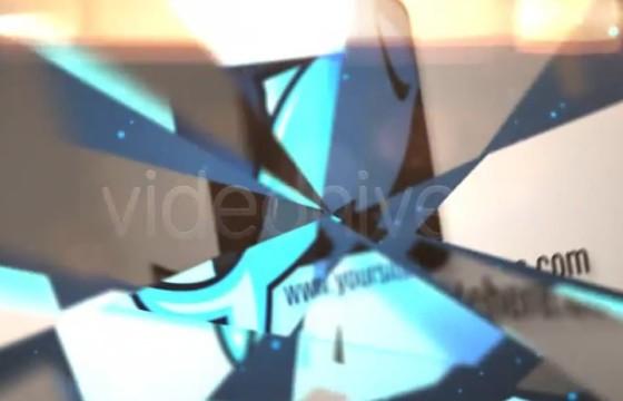 AE模板 放射性破碎LOGO汇聚动画片头 Flipping Logo