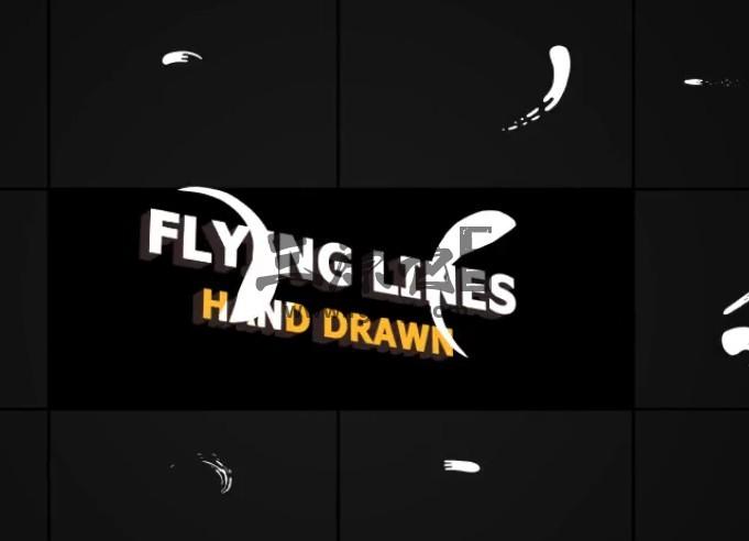 AE模板-手绘MG液体飞溅动画 Hand Drawn Flying Lines Ae 模板-第1张