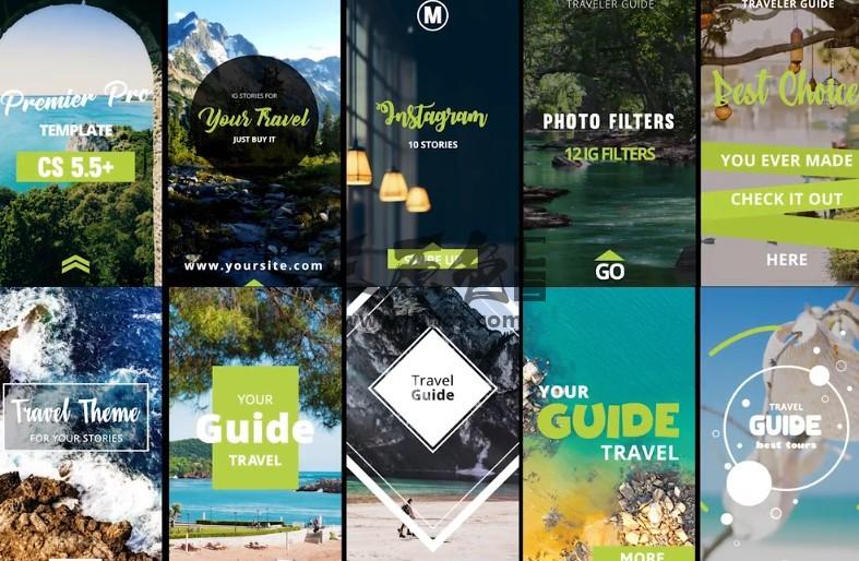 Pr模板 手机竖屏广告宣传动画模板 Instagram Stories Travels Pr 模板-第1张