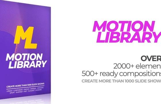 AE模板 视频幻灯片图形转场过渡动画 Motion Library Pack