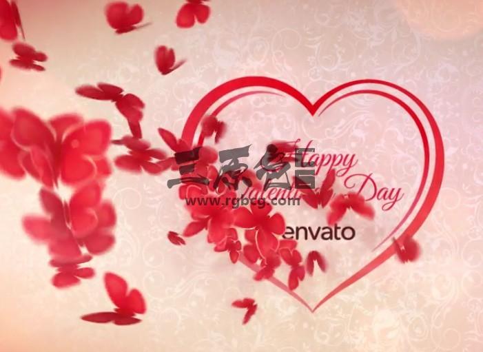AE模板-浪漫的心形蝴蝶飞舞开场片头 Romantic Heart Opener Ae 模板-第1张