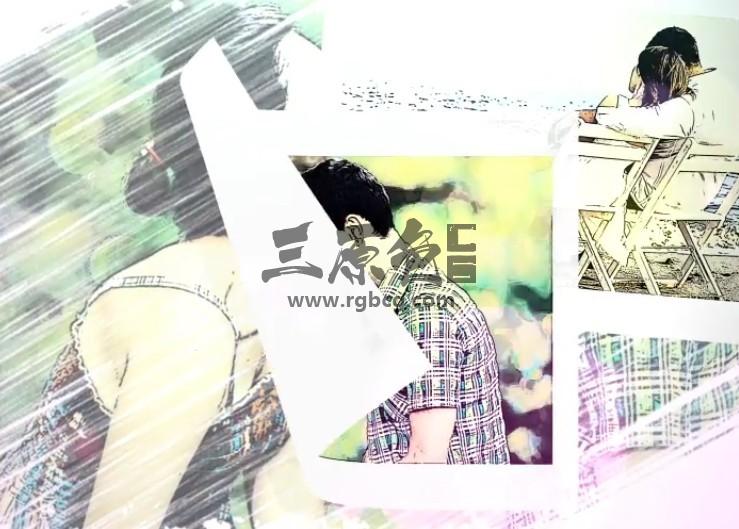 AE模板-浪漫手绘水彩画相册幻灯片展示 Romantic Story Ae 模板-第1张