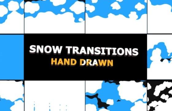 AE模板-MG卡通图形动画转场 Snow Transitions