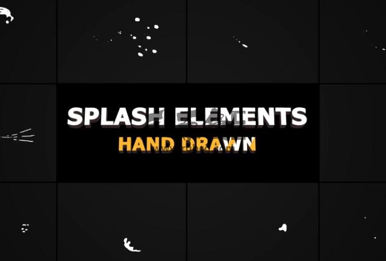 AE模板-MG液体飞溅动画元素 Splash Animated Elements Ae 模板-第1张