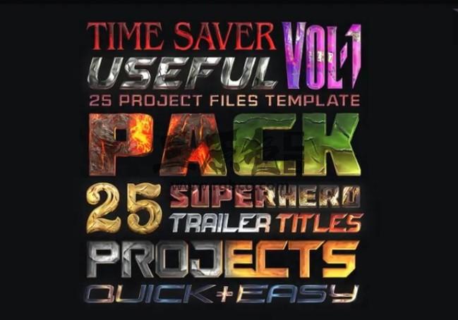 Pr Mogrt图形模板 25个超级英雄文字标题 Super Hero Titles Pack Pr 模板-第1张