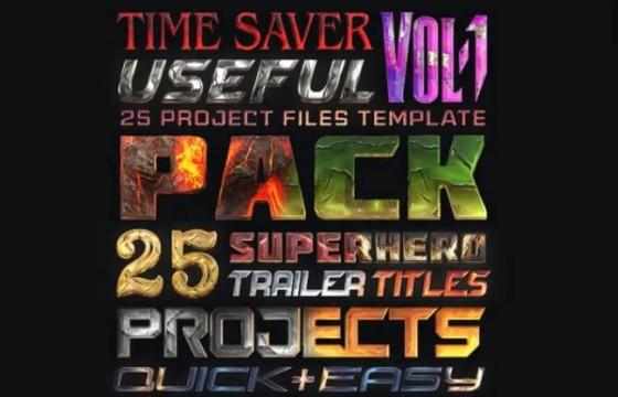Pr Mogrt图形模板 25个超级英雄文字标题 Super Hero Titles Pack