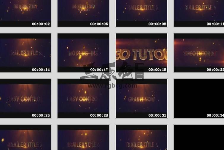 Pr模板-Mogrt基本图形模板 恢宏大气电影标题 Trailer Title Pr 模板-第1张