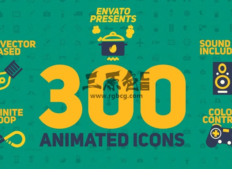 AE模板 - 300个Icons卡通图标MG动画 300 Animated Icons Ae 模板-第1张