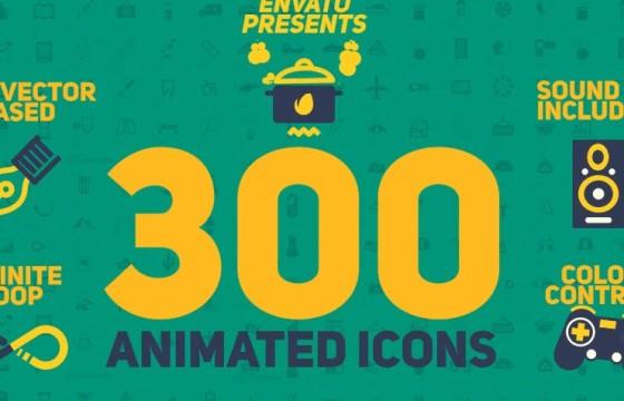 AE模板 – 300个Icons卡通图标MG动画 300 Animated Icons