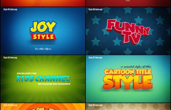 AE模板 – 综艺卡通文字标题样式动画 Cartoon Titles Styles