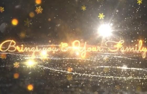 AE模板 动态雪花粒子光效背景文字标题动画展示 Christmas