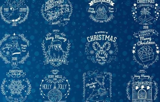 AE模板 圣诞节元素文字标题徽章动画 Christmas Badges