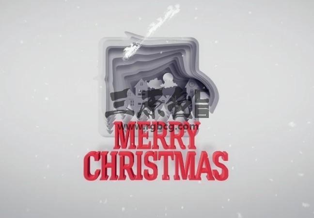 AE模板 纵向空间剪纸LOGO标志动画片头 Christmas Greetings Paper Cut Ae 模板-第1张