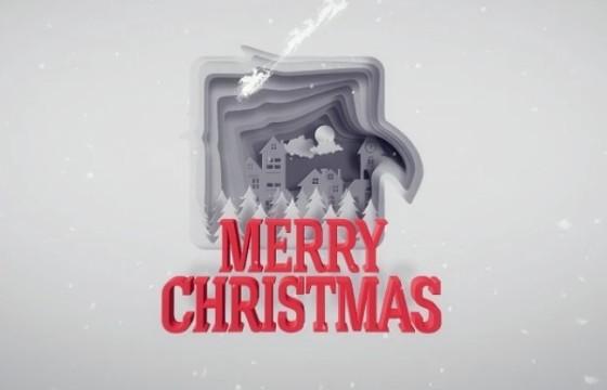 AE模板 纵向空间剪纸LOGO标志动画片头 Christmas Greetings Paper Cut