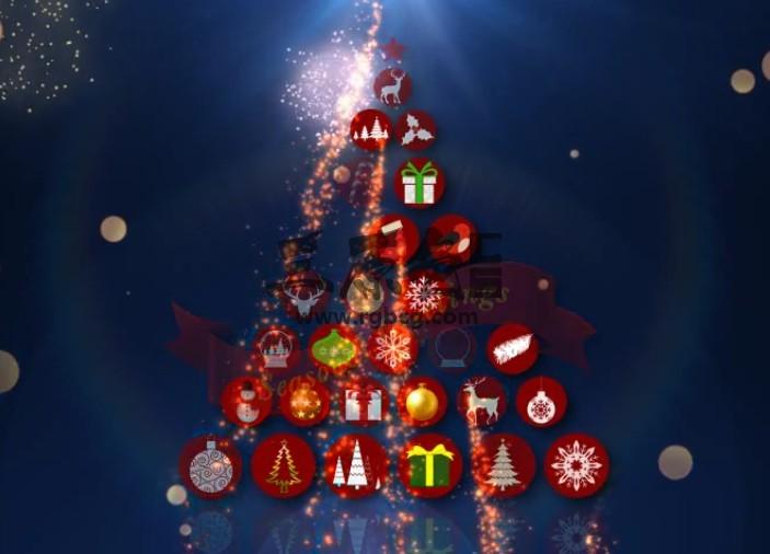 AE模板 圆形APP图标汇聚圣诞树动画片头 Christmas Intro Ae 模板-第1张
