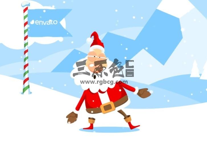 AE模板 打雪仗的圣诞老人图形动画LOGO显示 Christmas Logo Opener Ae 模板-第1张