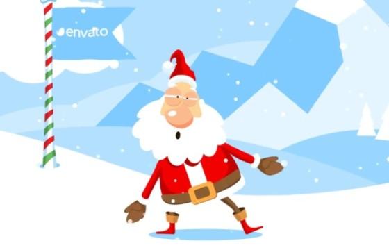 AE模板 打雪仗的圣诞老人图形动画LOGO显示 Christmas Logo Opener