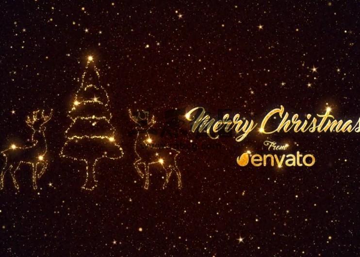 AE模板 星光粒子圣诞节元素文字片头 Christmas Short Greetings Ae 模板-第1张