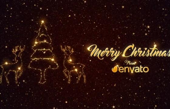 AE模板 星光粒子圣诞节元素文字片头 Christmas Short Greetings