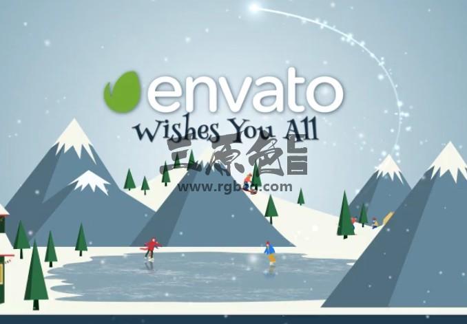 AE模板 卡通图形动画 圣诞冰雪世界滑冰动画 Christmas Wishes Ae 模板-第1张