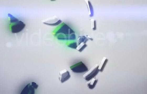 AE模板 三维LOGO碎片汇聚动画片头 Clean Logo 3D