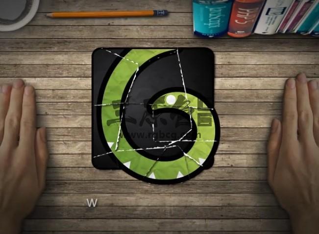 AE模板 手势拼接碎片LOGO动画模板 Collage Logo Reveal Ae 模板-第1张
