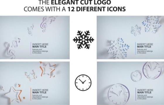 AE模板 创意剪纸MG图形动画LOGO展示 Elegant Cut Logo