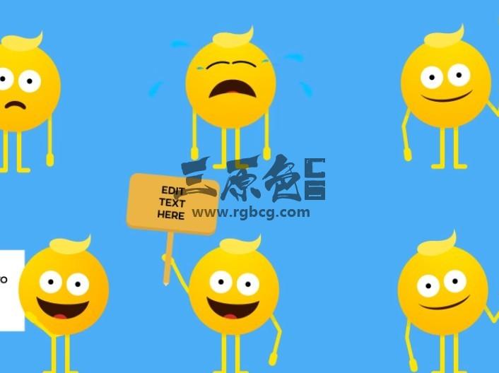 AE模板 38个各种卡通图形动画表情 Emoji Animation Ae 模板-第1张