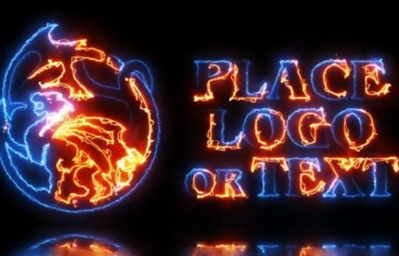 AE模板 能量火焰描边特效文字标志动画 Energy Logo