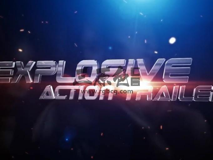 AE模板 三维文字标题预告片 粒子飞舞特效 Explosive Action Trailer Ae 模板-第1张