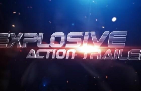 AE模板 三维文字标题预告片 粒子飞舞特效 Explosive Action Trailer