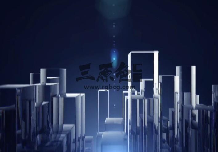 AE模板 - 透明玻璃柱LOGO标志动画 Glass Columns Logo Ae 模板-第1张