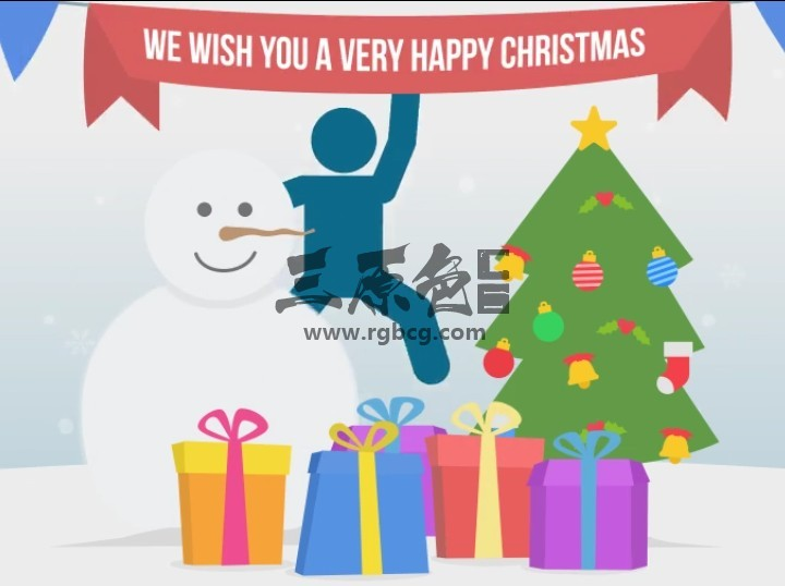 AE模板 圣诞节动画 MG火柴人卡通图形 Happy Christmas Ae 模板-第1张
