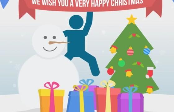 AE模板 圣诞节动画 MG火柴人卡通图形 Happy Christmas