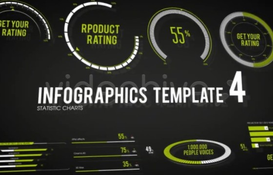 AE模板 – 百分比数据信息图表动画模板 Infographics Template