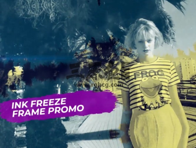 Pr模板 动态水墨遮罩幻灯片帧冻结字幕条 Ink Freeze Frame Promo Pr 模板-第1张