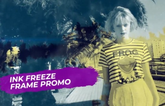 Pr模板 动态水墨遮罩幻灯片帧冻结字幕条 Ink Freeze Frame Promo