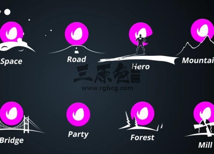 AE模板 MG卡通图形剪影动画LOGO显示 Moonlight Cinematic Ae 模板-第1张