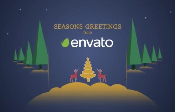 AE模板 圣诞节卡通图形动画LOGO片头 Parallax Christmas Greetings