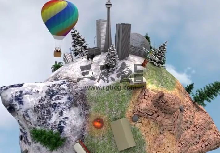 AE模板 三维球形地形分布缩小动画 Planet America Ae 模板-第1张
