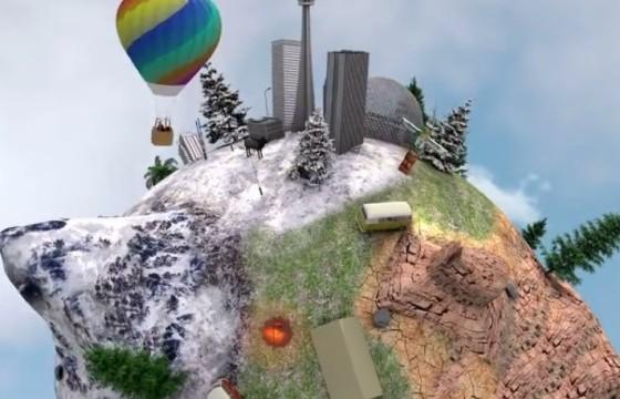 AE模板 三维球形地形分布缩小动画 Planet America