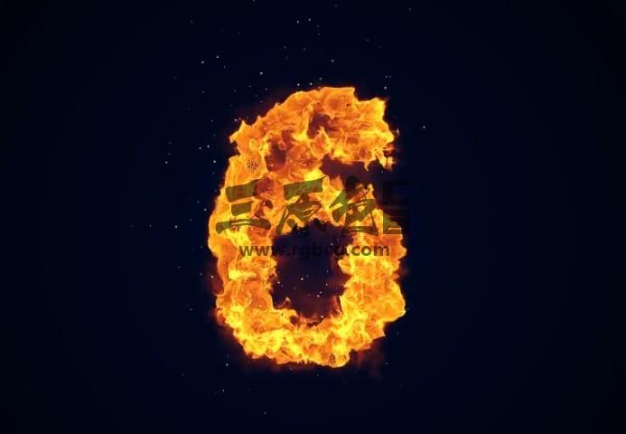 AE模板 冰火效果倒计时开场片头 Pyro Countdown Ae 模板-第1张