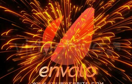 AE模板 红色粒子动画片头 Red Electric Cinematic Logo Revealer