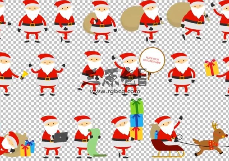 AE模板 MG卡通图形 圣诞老人动画 Santa Animation Greetings Ae 模板-第1张