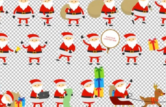 AE模板 MG卡通图形 圣诞老人动画 Santa Animation Greetings
