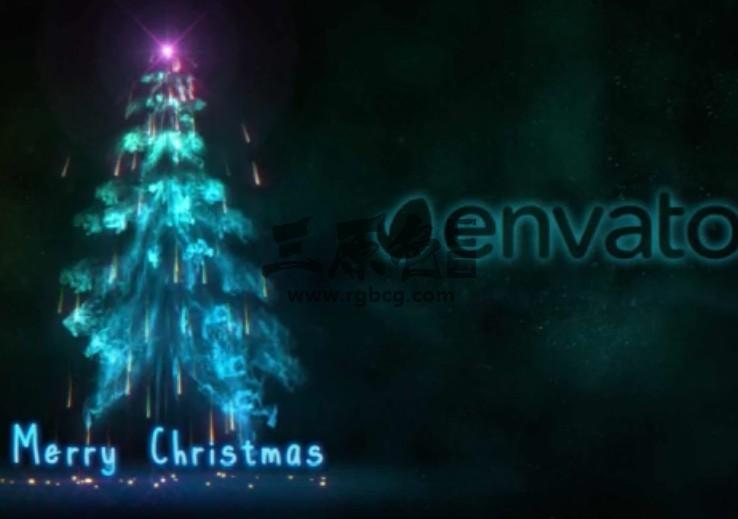 AE模板 动态粒子烟雾形状圣诞树动画片头 Smokey Tree Ae 模板-第1张