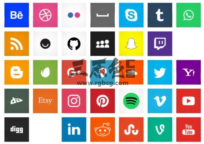 AE模板-扁平化方形ICO图标动画社交媒体 Social Media Ae 模板-第1张