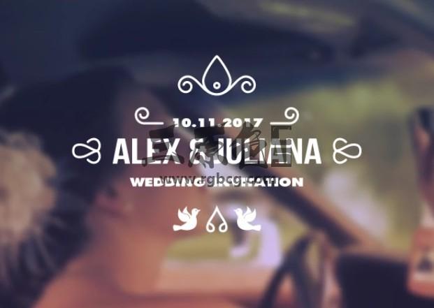 AE模板 浪漫婚纱婚礼标题字幕条动画 Wedding Titles Ae 模板-第1张